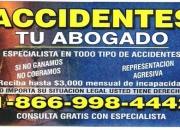 Abogado de accidentes/ tu abogado legal 866-998-4442