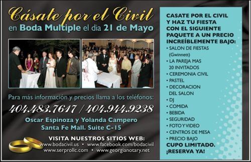 Casate por el civil el 21 de mayo